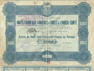 France Blast Furnaces & Founderies Of Franche Comte Stock Certificate 1913 photo