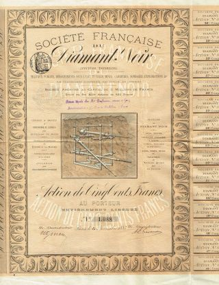 France Black Diamond Mining & Tunneling System Stock Certificate 1883 photo