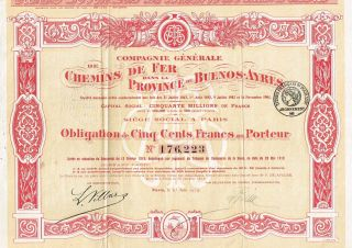 Argentina Buenos Aires Railway Company Stock Certificate 1919 photo