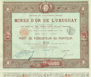 Uruguay Gold Mines Stock Certificate 1895 photo