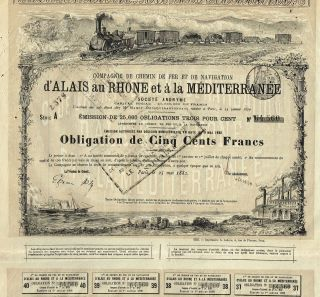 Old France Railway & Navigation Company Stock Certificate 1882 photo