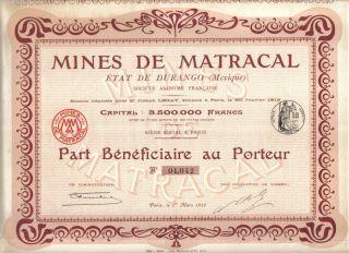 Mexico France 1912 Mining Mines Matracal Durango Co Uncancelled Coupons Deco photo