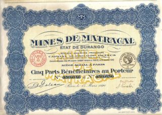Mexico France 1926 Mining Mines Matracal Durango 5 Profit Share Uncancelled Coup photo