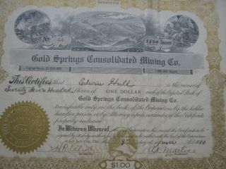 Gold Springs Consolidated Mining Co.  Utah 3 Certificates 1910 Start Low photo