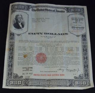 $50 United States War Savings Bond Series E - Issued July 1943 photo