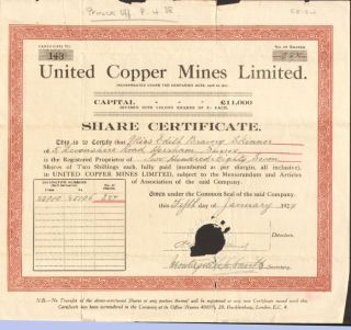 United Copper Mines Limited 1929 British Mining Stock Certificate Share London photo