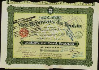 Indochina / Vietnam Societe Des Tramways Du Tonkin Dd 1929 Paris photo