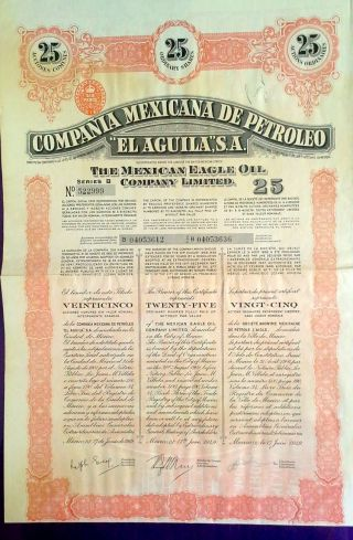 Mexico Mexican Mexicana Petroleo El Aguila Eagle Oil Uncancelled Bond Loan photo