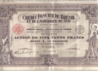 Brazil Bond 1928 Credit Foncier Bresil 500 Fr Extra Deco Uncancelled Coupons photo