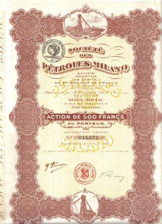 Italy Bond 1920 Oil Petroles Milano Co 500 Fr Coupons Deco Uncancelled photo