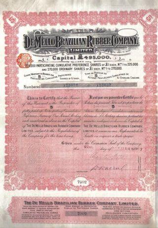 Brazil 1907 The Mello Brazilian Rubber Co 5 Shares £5 Uncancelled Coup photo