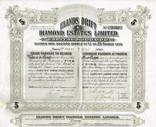 Africa Cape Of Good Hope Elands Drift Diamond Company Stock Certificate 5sh photo