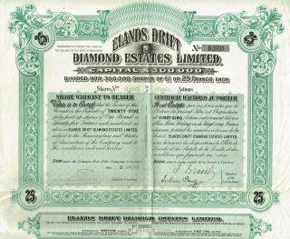 Africa Cape Of Good Hope Elands Drift Diamond Company Stock Certificate 25sh photo