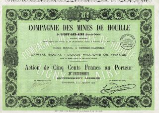 France Mining Company Of Ligny - Lez Aire Stock Certificate 1924 photo
