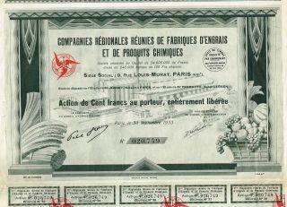 France Fertilizer & Chemical Company Stock Certificate 1933 photo