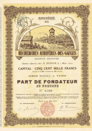 France Gold Reasearch Company Of Gaules Stock Certificate 1912 photo