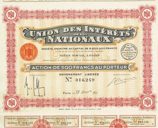France Union Of National Interests Stock Certificate 1933 Paris photo