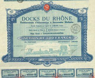 France The Docks Of Rhone Stock Certificate 1930 photo