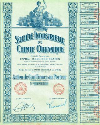 France Organic Chemistry Company Stock Certificate 1926 photo