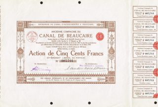 France Beaucaire Canal Company Stock Certificate photo