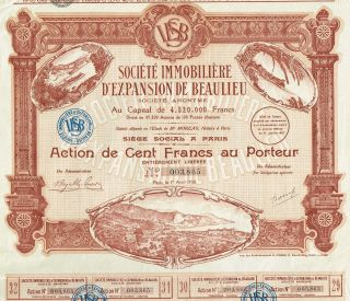 France Real Estate Expansion Of Beaulieu Stock Certificate 1930 photo