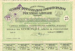 Italy City Of Torino Industry Stock Certificate 1928 25 Sh photo