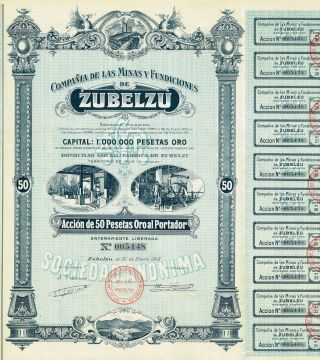 Spain Zubelzu Mines & Foundries Stock Certificate photo