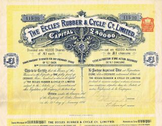 England Eccles Rubber & Cycle Company Stock Certificate 1898 photo