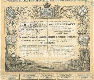Spain South Spain Railroad Stock Certificate 1908 Madrid photo