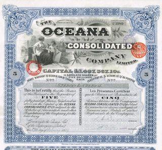 England Holding Co Stock Certificate 1929 Oceana 5 Sh photo