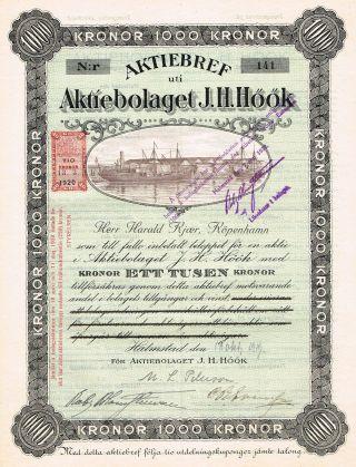 Sweden Company Stock Certificate 1919 J.  H.  Hook photo