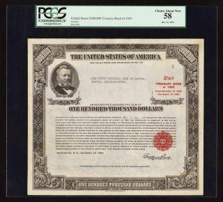 $100,  000 Treasury Bond Of 1963 Pcgs Au58 Serial 1 Issued 1954 photo