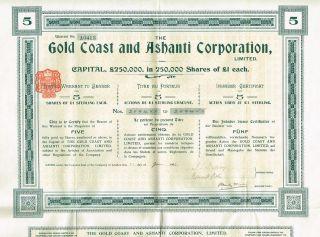 Africa Gold Coast & Ashanti Corp Stock Certificate 1905 5sh photo