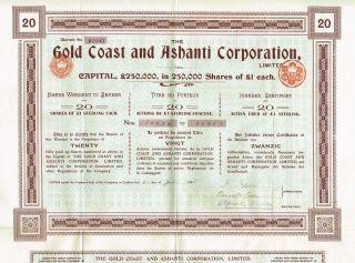 Africa Gold Coast & Ashanti Corp Stock Certificate 1905 20sh photo