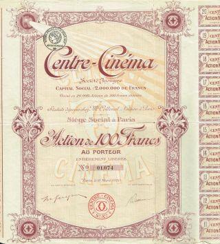 France Cinema Center Stock Certificate 1920 photo