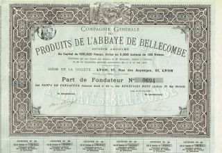 France Bellecombe Abbey Products Company Stock Certificate 1900 photo