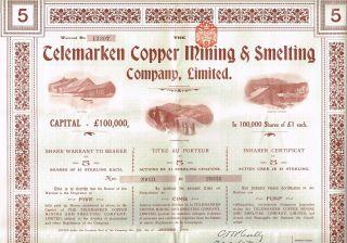 Norway Telemarken Copper Mining & Smelting Bond Stock Certificate 1906 5sh photo