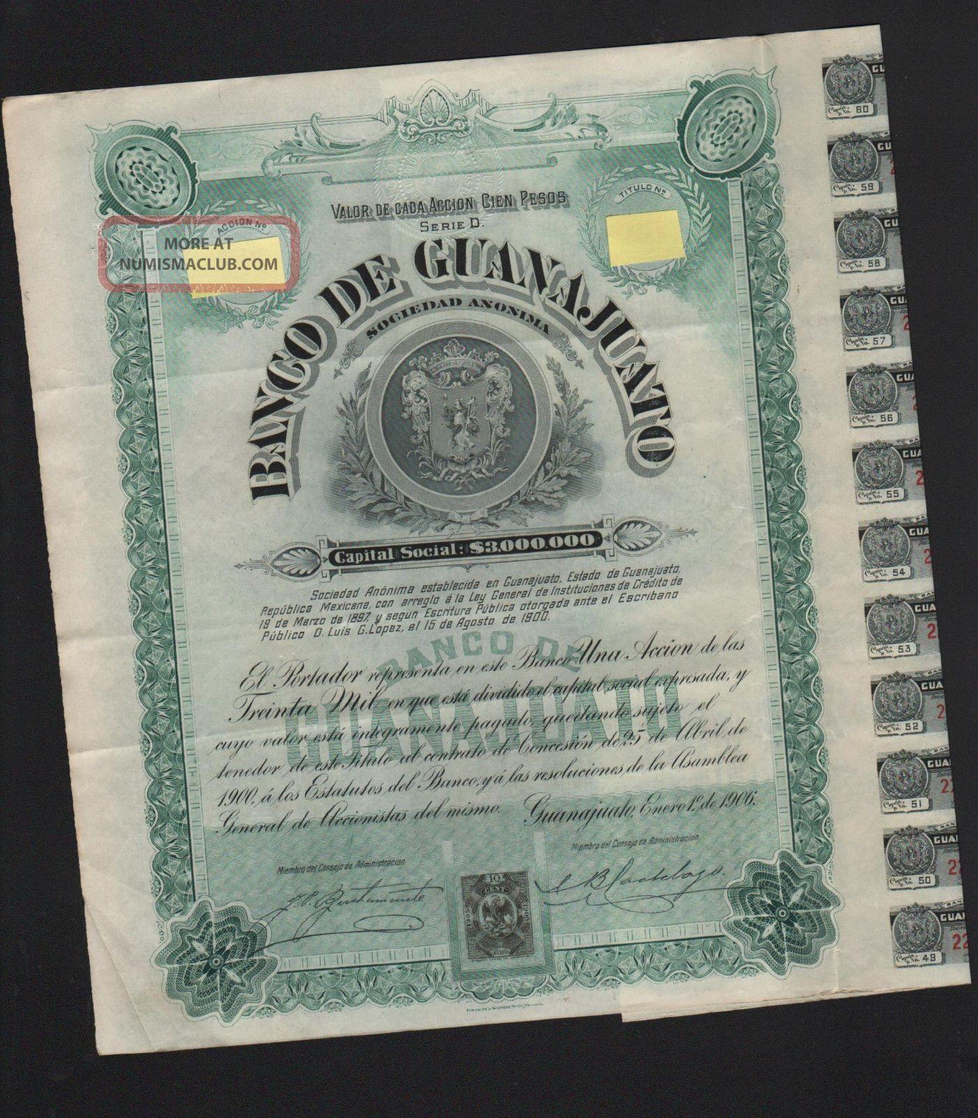 Mexico,  Banco De Guanajuato 1906,  Winston Churchill Bond Stocks & Bonds, Scripophily photo