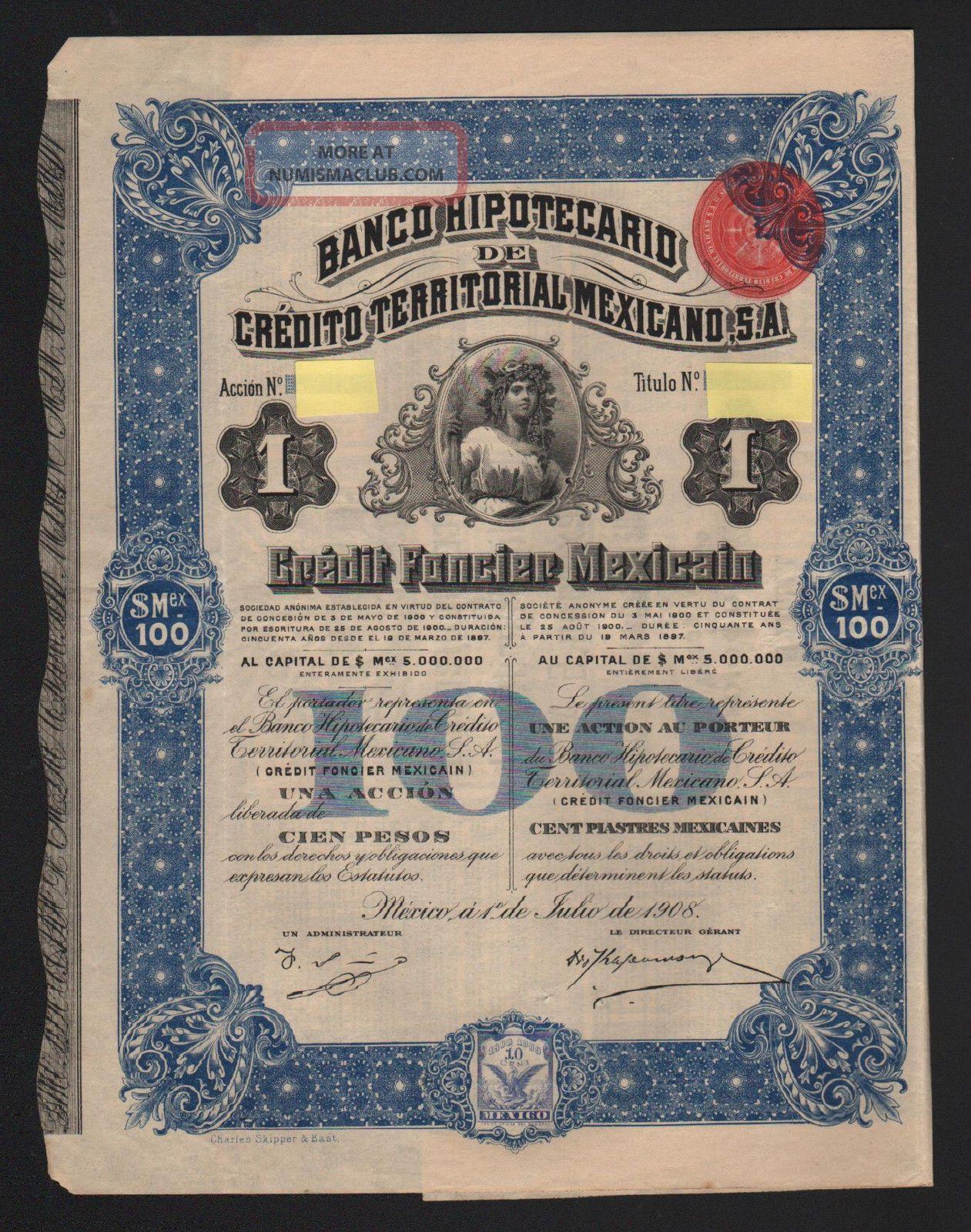 Banco Hypotecario De Credito Territoral Mexicano 1908 Stocks & Bonds, Scripophily photo