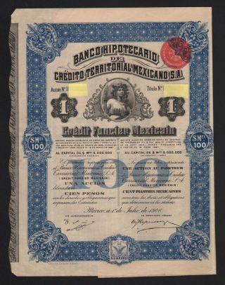 Banco Hypotecario De Credito Territoral Mexicano 1908 photo