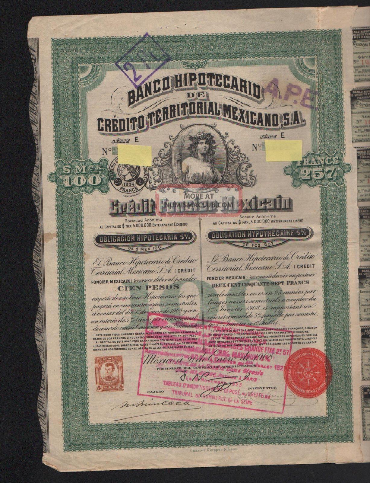 Obligacion: Banco Hypotecario De Credito Territoral Mexicano 1908 Stocks & Bonds, Scripophily photo