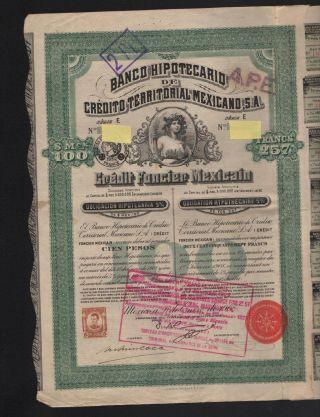 Obligacion: Banco Hypotecario De Credito Territoral Mexicano 1908 photo