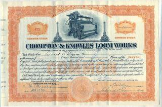 Crompton & Knowles Loom Stock Certificate Worcester Massachusetts photo
