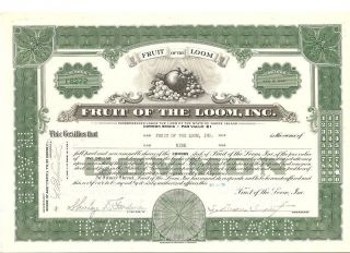 Fruit Of The Loom Stock Certificate From 1959 Or 69 photo