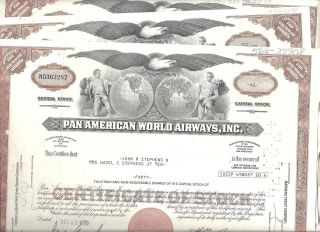 4 Pan American Stock Certs.  1970 ' S Plus 3 Seatrain Line 1970 ' S photo
