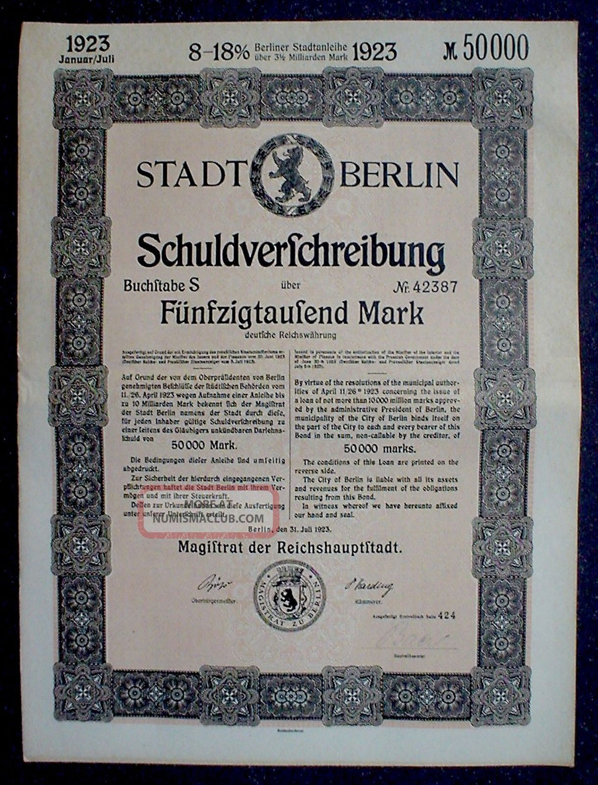 German 8 - 18% Treasury Bond City Berlin 50000 Mark 1923 Uncancelled +coupon Sheet Stocks & Bonds, Scripophily photo