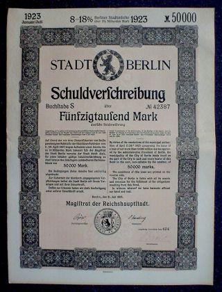German 8 - 18% Treasury Bond City Berlin 50000 Mark 1923 Uncancelled +coupon Sheet photo