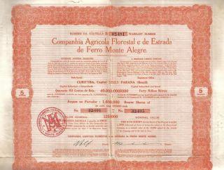 Brazil 1930 Agricola Florestal Estrada Ferro Railroad Monte Alegre Uncancelled photo