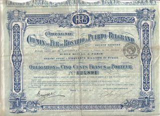 Argentina 1918 Chemin Fer Rosario Puerto Belgrano Railway 500 Fr Uncancelled photo