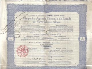 Brazil 1930 Agricola Florestal Estrada De Ferro Monte Alegre 1 Share Uncancelled photo